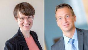Andrea Kolassa, Leiterin Finanz- und Rechnungswesen, und Kurt Grabler, Leiter Lebens- und Krankenversicherung