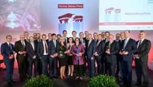 """Preisträger des 12. Wiener Börse Preis in den Kategorien ATX, Corporate Bonds und Mid Cap und dem erstmalig vergebenen Nachhaltigkeitspreis sowie für Medienarbeit (""""Journalisten"""")."""