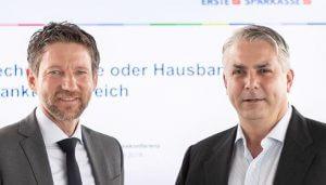 """Thomas Schaufler, Privatkundenvorstand, Peter Bosek, Vorstandsvorsitzender der Erste Bank Oesterreich: """"Die Wohnkosten sollten maximal 30 Prozent des Einkommens betragen, doch heute verschlingt der Faktor Wohnen bei vielen Österreichern bereits deutlich mehr."""""""