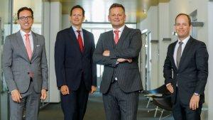 Werner Panhauser (Vorstand Vertrieb & Marketing), Mag. Andreas Bayerle (Vorstand Leben & Finanzen), Mag. Thomas Neusiedler (CEO Helvetia Österreich) und Dr. Kaspar Hartmann (Vorstand Schaden-Unfall)