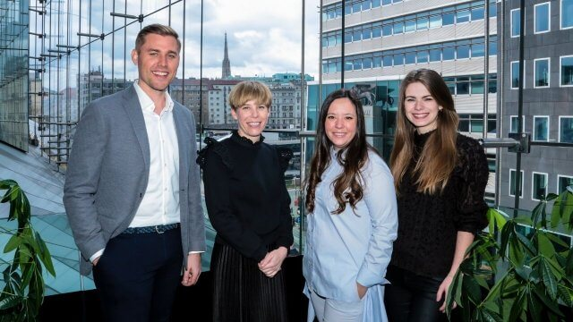 Maximilan Unger, Partner bei TheVentury, Nicole Stroj, Head of Organisational Innovation bei Raiffeisen Bank International AG, Aleksandra Petkov-Georgieva, Senior Innovation Manager bei Raiffeisen Bank International AG und Katharina Binder, Head of Accelerator bei TheVentury